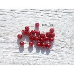 Perles Rondes 8 mm Nacrées Rouge  x 20