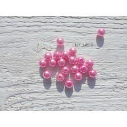 Perles Rondes 8 mm Nacrées Rose  x 20
