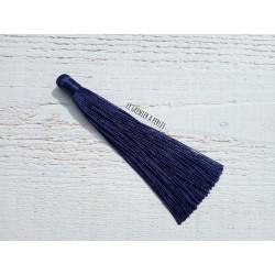Grand pompon en coton * Bleu Marine 12 cm