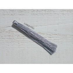 Grand pompon en coton * Gris 12 cm