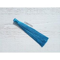 Grand pompon en coton *Bleu paon 12 cm