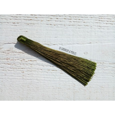 Grand pompon en coton * Vert Olive 12 cm