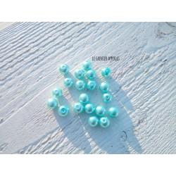 Perles Rondes 8 mm Nacrées Turquoise  x 20