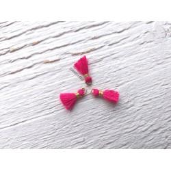 2 Petits Pompons coton * Rose Fuchsia * 1 cm