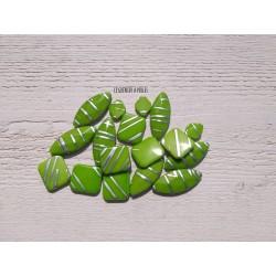 Perles acrylique * Vert et Argenté * LOT