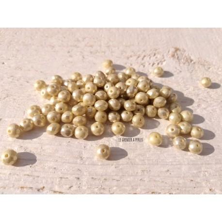 10 Perles Abacus Tchèques 5 x 7 mm * Ivoire & Mercure * Czech Rondelles