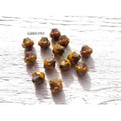 5 Toupies Baroques 10 x 11 mm * Pumpkin, Jaune doré et Picasso * Perles Tchèques