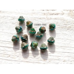 5 Toupies Baroques 10 x 11 mm * Green Turquoise et Picasso * Perles Tchèques