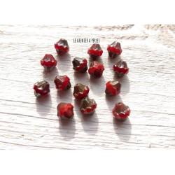 5 Toupies Baroques 10 x 11 mm * Rouge et Picasso * Perles Tchèques