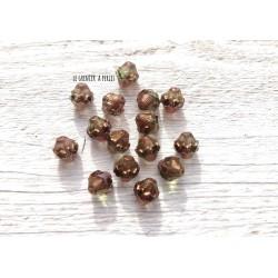 5 Toupies Baroques 10 x 11 mm * Light Green et Bronze * Perles Tchèques