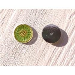 1 Cabochon Tchèque 18 mm * Vert et Or * Daisy * Czech Cabochon