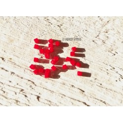 Perles CUBES 2 mm Rouge Opaque  x 25