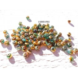 20 Perles Abacus Tchèques 3 x 5 mm * Pacific Blue, Amber, White & Picasso 1090 * Czech Rondelles