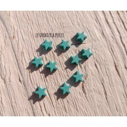 Perles Etoile 6 mm * Caoutchouc Turquoise