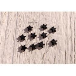 Perles Etoile 6 mm * Caoutchouc Noir