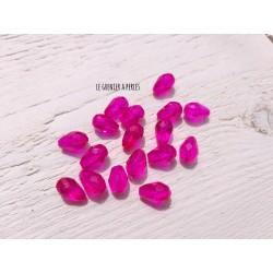 5 Perles Gouttes 12 x 8 mm Rose Fuschia