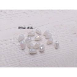 5 Perles Gouttes 12 x 8 mm Blanc Nacré