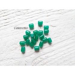 5 Perles Cylindre 6 x 8 mm Vert Emeraude