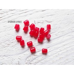 5 Perles Cylindre 6 x 8 mm Rouge