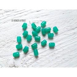 5 Perles Cylindre 6 x 8 mm Vert
