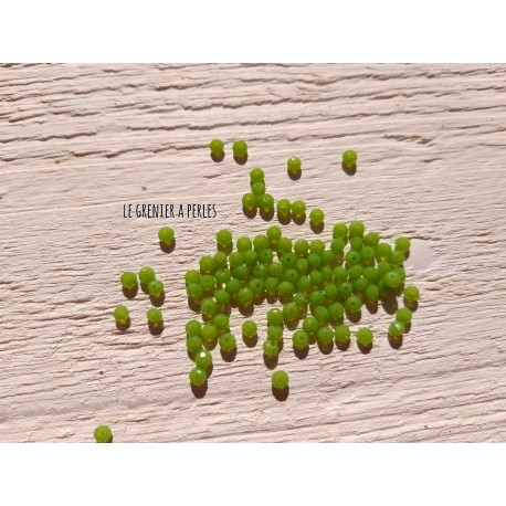 50 Perles Abacus 3 mm Chartreuse Opal