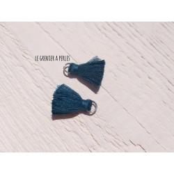 2 Petits Pompons coton * Vert Canard * 2 cm