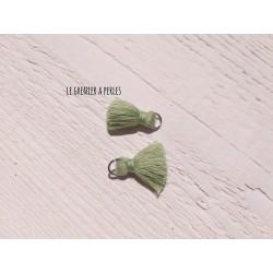 2 Petits Pompons coton * Pistache * 2 cm