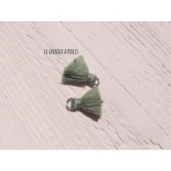2 Petits Pompons coton * Romarin * 2 cm