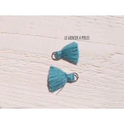 2 Petits Pompons coton * Vert D'eau * 2 cm
