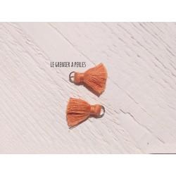 2 Petits Pompons coton * Bronze * 2 cm