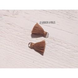 2 Petits Pompons coton * Brun * 2 cm