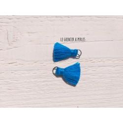 2 Petits Pompons coton * Bleu Canard * 2 cm
