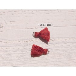 2 Petits Pompons coton * Rouge Brique * 2 cm