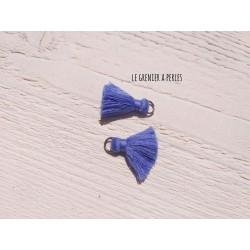 2 Petits Pompons coton * Bleu Violine * 2 cm