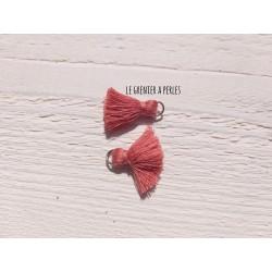 2 Petits Pompons coton * Vieux Rose * 2 cm