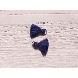 2 Petits Pompons coton * Bleu Marine * 2 cm