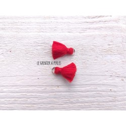 2 Petits Pompons coton * Rouge * 2 cm