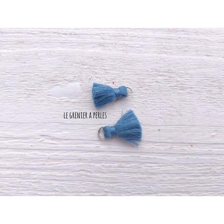 2 Petits Pompons coton * Bleu Paon * 2 cm