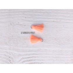 2 Petits Pompons coton * Orange Néon Pastel * 2 cm