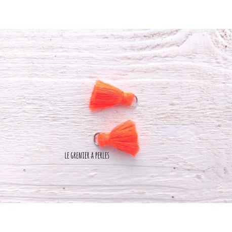 2 Petits Pompons coton * Orange Néon  * 2 cm