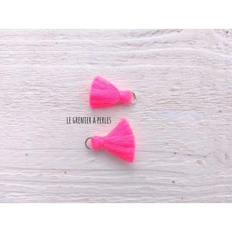 2 Petits Pompons coton * Rose Néon  * 2 cm