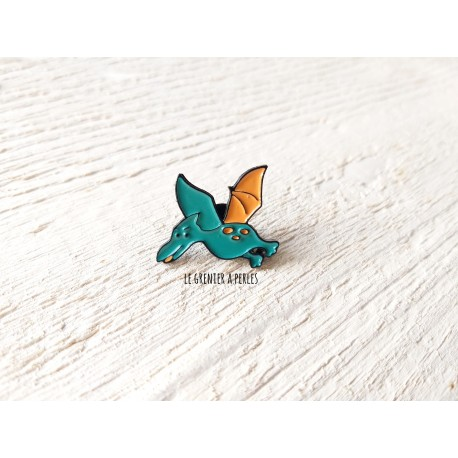 Pin's Dino Vert et Orange * Pin's en émail