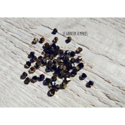 50 Toupies 4 mm Bleu Cobalt & Bronze