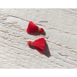 2 Petits Pompons coton * Rouge * 1.5 cm