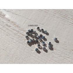 25 Perles CUBES 4 mm Argent
