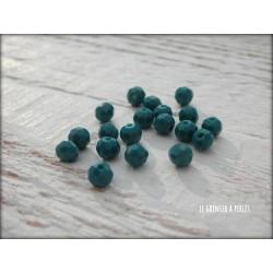 Perles Rondes Facettées 4 mm Bleu Paon X 25