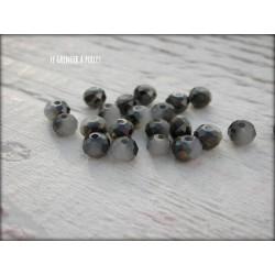 Perles Abacus 4 mm Noir et Gris Perle X 25
