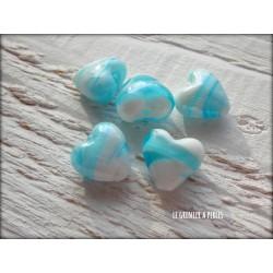 Perle COEUR 12 mm BLEU CLAIR