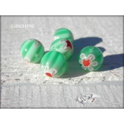 Perles MILLEFIORI 10 mm x 5 VERT CLAIR
