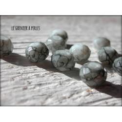 10 Perles ABACUS 8 mm Gris Marbrées